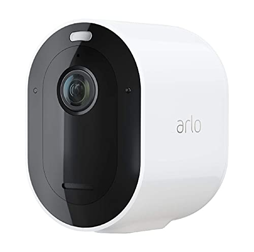 Arlo Pro4 Spotlight, Telecamera di videosorveglianza WiFi senza fili, Faro e sirena integrati, Sensori movimento, Video 2K, Visione notturna a colori, Audio 2 vie, non richiede base Arlo, Bianco