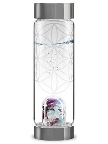 VitaJuwel Via FLOR DE LA VIDA - Botella De Agua Con Piedras Preciosas (Amatista - Aguamarina - Cristal de Roca) y flor de la vida.