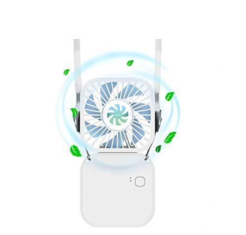 XGzhsa Mini Ventilador de Mano Electric, Mini Ventilador portátil USB de Mano, Ventilador Quiet Wind de 3 velocidades con Correa para el Cuello para Viajes de Oficina en casa (Blanco)