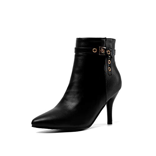 Z09-51 - Botas de caña corta para mujer con cierre de cremallera, estilo puntiagudo, color Blanco, talla 40 EU