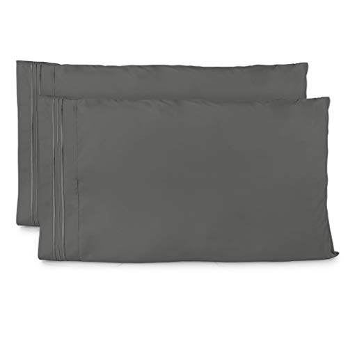 Cosy House Collection Pillowcases Standard Size - Grey Luxury Pillow Case Set of 2 - Fits Queen Size Pillows - Premium Super Soft Hotel Quality - Cool & Wrinkle Free - Hypoallergenic