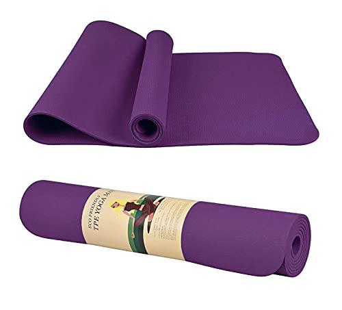 Ducomi Virasana - Alfombrilla de yoga, acolchada, antideslizante, para fitness, pilates, gimnasia y ejercicio, 183 x 61 x 0,6 cm, color morado