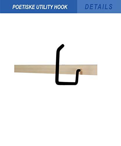 POETISKE Utility Hooks Ladder Hanger Wall Mounted Bike Chair Garage Organization Heavy Duty Screw-in Vinyl Coated 4Pack (Black)
