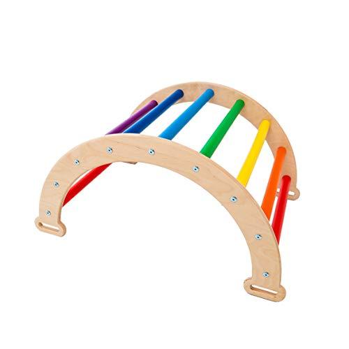 Woodandhearts Pikler Arch Rocker - Waldorf Wooden Rocking Play - Balance Board Montessori - Climbing Arch for Kids - N.Wood+Rainbow (Small Size)