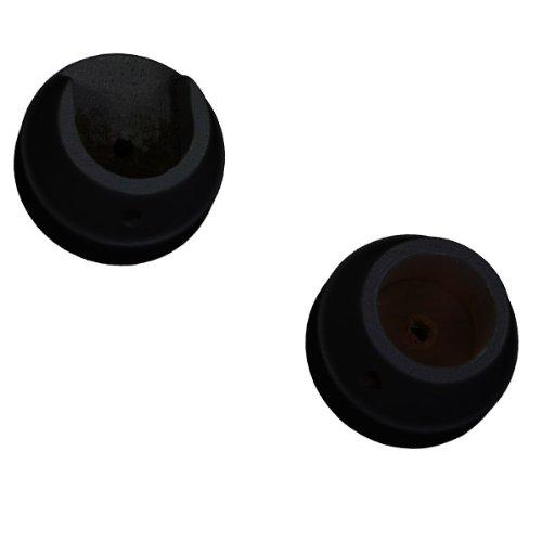 rouleaux Woodline 50 mm en bois empreinte Fixations, Noir, Lot de 2