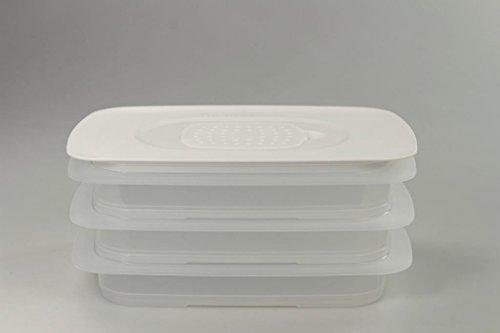 TUPPERWARE Cool`N Fresh 700 ml (3) Behälter + Klimadeckel weiß Stapelprofi