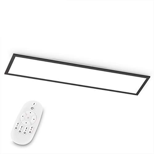 EGLO LED Deckenleuchte Bottazzo, Deckenlampe 100x25 cm, Panel ultraflach aus Aluminium & Kunststoff in Schwarz, mit Fernbedienung dimmbar, Farbtemperaturwechsel (warmweiß – kaltweiß), Wohnzimmerlampe