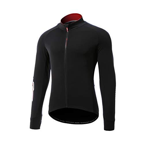 Santic Magliette Ciclismo Uomo Lungo Maglia Ciclismo Uomo Invernale Bicicletta Camicie Nero EU M
