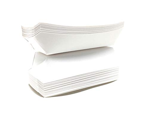 Mr. Miracle 7 Inch Paper Hot Dog Tray in White. Pack of 50. Disposable, Recyclable and Fully Biodegradable. Made in USA