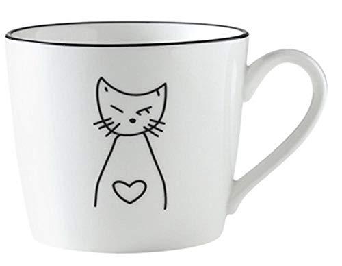 WCCCW Hervorragende Tasse Tee oder Kaffee - Kreative Tasse Kaffee Frühstück nach Hause Keramik Tasse-Weiß-1