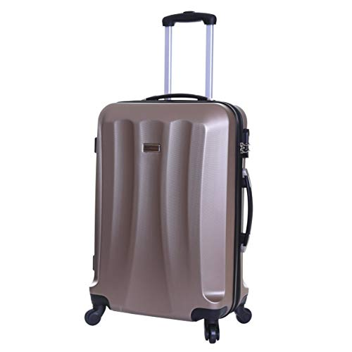 Slimbridge Hard Medium Large Suitcase Luggage Bag ABS Shell 67 cm 3.2 kg 55 litres with 4 Wheels and Integrated Number Lock, Lydde (67 cm, Champagne)