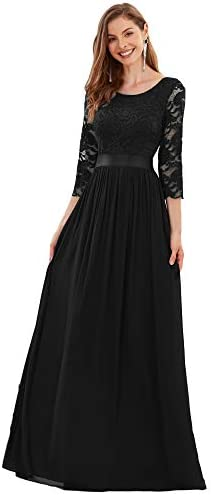 Ever Pretty Fashion Maxi Long Lace Bridesmaids Dress for Women 14 US Black product image