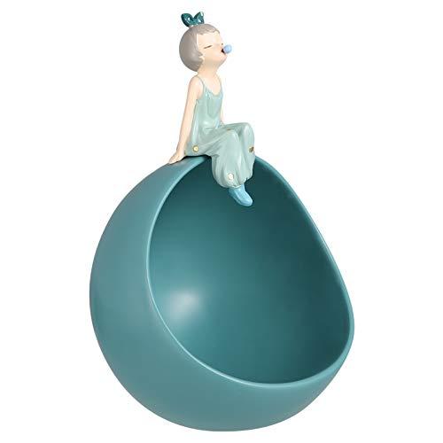 WINOMO Cuenco de Almacenamiento de Llaves de Resina Linda Figura de Niñas Andy Plato Joyas Pendientes Soporte para La Decoración de Escritorio de Oficina en Casa Azul