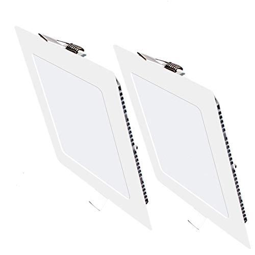 Pack 2x Downlight LED Led Panel light Cuadrado 9W 4000K Luz neutra Ultradelgado LED Panel Downlight Iluminación interior Para oficina hogar pasillo dormitorio pasillo Hall Sala de estar