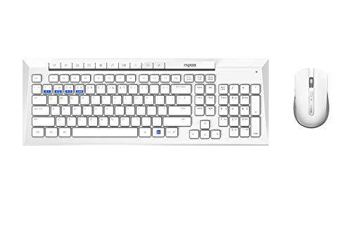 Rapoo 8200M drahtloses optisches Multimodus-Kombi-Set mit Tastatur und Maus, HD-Sensor mit 1.600 DPI, weiß