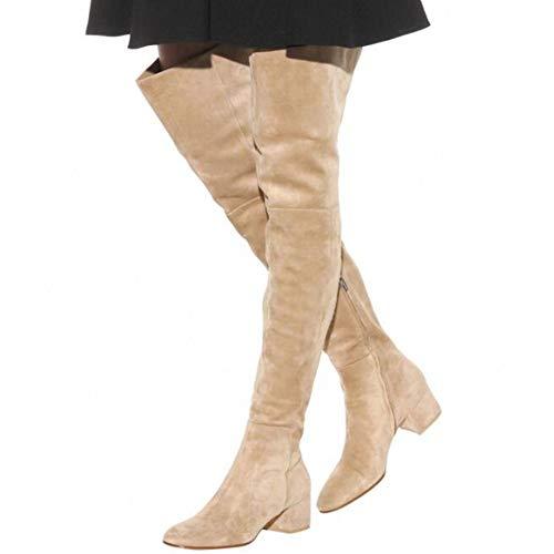 Yipianyun Hohe Stiefel Pelzstiefel Flache Schuhe Overknee Stiefel Winter Warm Schnee,Beige,47