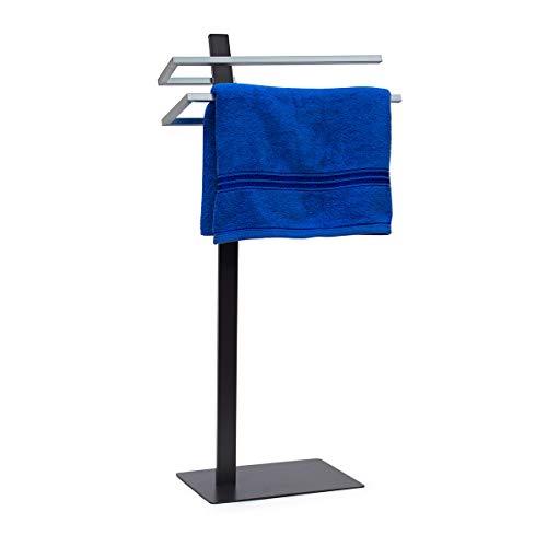 Relaxdays Handtuchständer GRAO H x B x T: 85 x 40 x 20 cm Handtuchhalter stehend mit 2 Armen & verchromten Handtuchstangen in Edelstahl Optik, moderner Badetuchhalter elegant und stilvoll, anthrazit