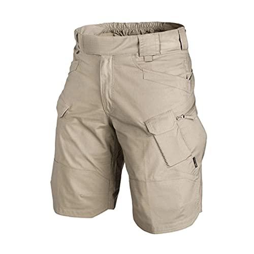 Qagazine Pantalones cortos de trabajo para hombre, impermeables, con múltiples bolsillos, ajuste relajado, para trabajo, senderismo, S-6XL