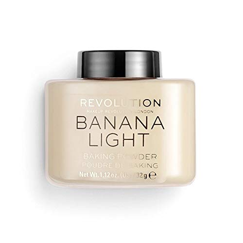 Makeup Revolution Loose Baking Powder Banana Light, Makeup Highlighter for Skin Glowing, Foundation Powder to Set Face Make Up, Baking Powder Makeup