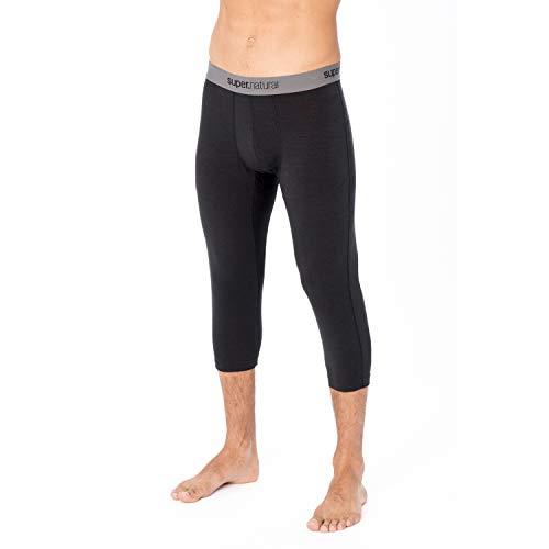 super.natural Sous-vêtement Technique Homme, Longueur 3/4, Laine mérinos, M BASE 3/4 TIGHT 175, Taille: M, Couleur: Noir