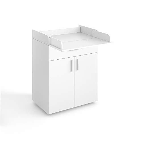 VICCO Wickeltisch LENA Wickelkommode in weiß oder Sonoma Eiche Baby Kids Wickelregal Babymöbel Kommode Wickelauflage mit Klappfunktion - für ausreichend Platz (Weiß)