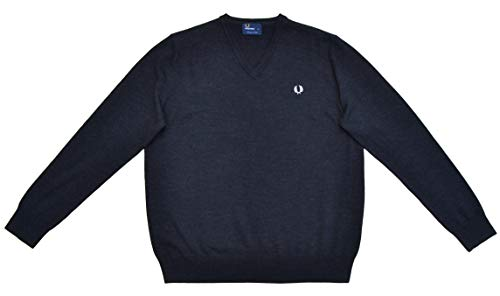 Fred Perry Pullover Classic V-Neck Jumper Wolle Schwarz melnage Black Marl (XL)
