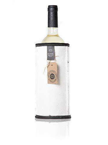 KYWIE Rafraichisseur de Bouteille de Vin Mousseux, Rouge, Blanc, Fait de Peau de Mouton Isotherme 700ml – White Suede