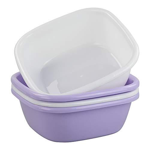 Mayish Kunststoff Spülwanne Spülschüssel Quadratisch, Weiß, Lila, 4 Packung