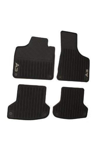 AUDI Genuine Accessories 8P1061450041 Black Rubber Front and Rear All Weather Floor Mat A3, (Set of 4)