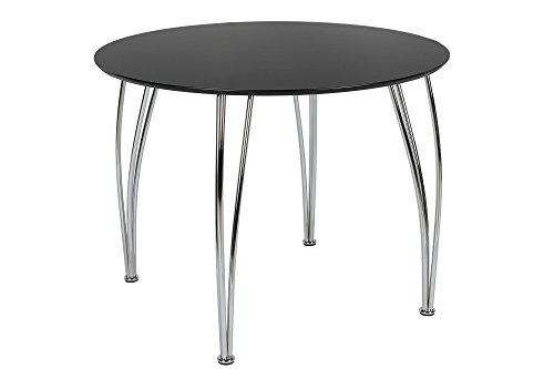 Novogratz Round Dining Table with Chrome Plated Legs, Black