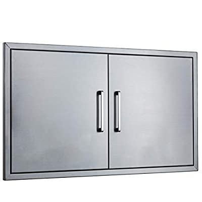 "Outdoor Kitchen Doors Stainless Steel,36"" Double Access Door,Flush Mount for Outdoor Kitchen and BBQ Island"
