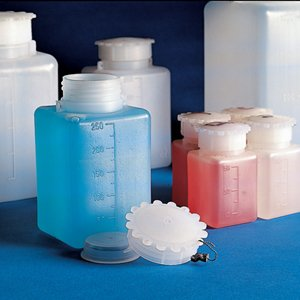 Best Bargain Bottle with Screwcap, Wide Mouth, Square, Graduated, LDPE (Cap: PP), 50mL