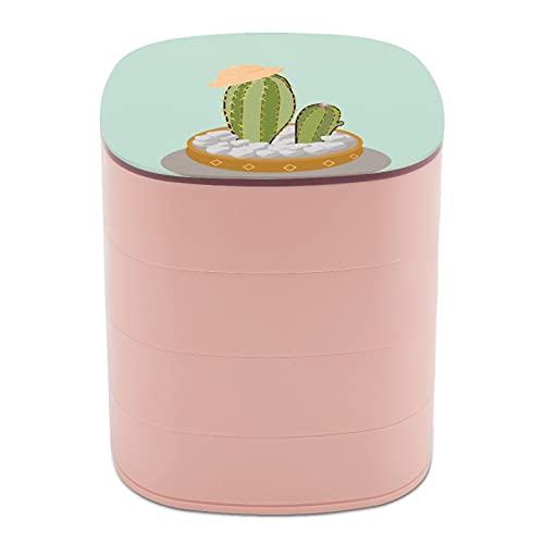 Rotar la caja de joyería Imprimir Arte interesante Bonsai Modelado Sombrero Diseño multicapa Joyero Caja organizadora con espejo para mujeres niñas y niños