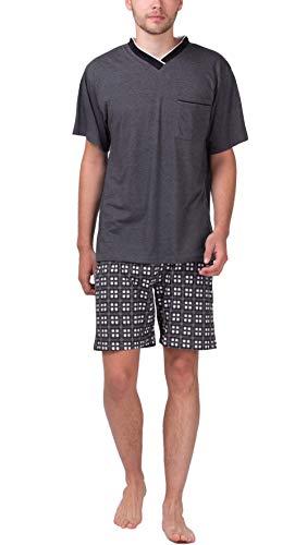 Moonline - Herren Shorty Schlafanzug Kurz Pyjama mit Karierter Hose, Größe:54/56 (XL), Farbe:Anthrazit-Melange