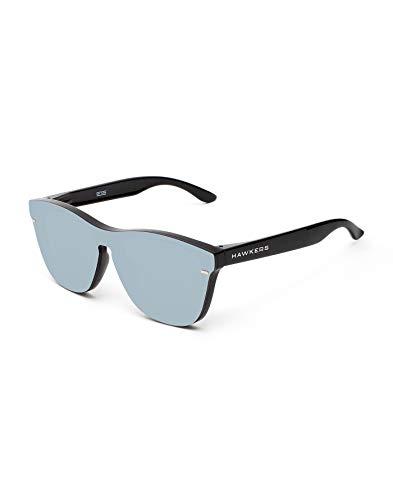 HAWKERS Gafas de Sol Venm Hybrid Chrome, para Hombre y Mujer, con Montura Acabado Brillo y Lente de máscara Efecto Espejo, Protección UV400, Negro/Gris, One Size Unisex Adulto