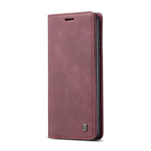 Handytasche für Xiaomi Mi 10T Lite 5G Hülle Case Handyhülle Cover Leder Tasche Flipcase Schutzhülle Silikon Ständer Klapphülle Schale Magnetverschluss für Xiaomi Mi 10T Lite 5G Weinrot