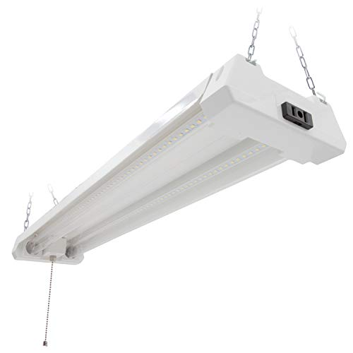 Maxxima 2 ft. Utility LED Shop Light Fixture, 20 Watt, Linkable, Clear Lens 5000K Daylight 2500 Lumens, Plug in, Pull Chain, Hardware Included, LED Garage Light