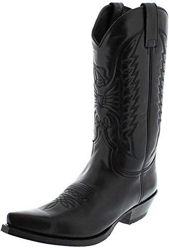 Sendra Boots 2073 Snowbut Negro/Damen & Herren Cowboystiefel Schwarz/Westernstiefel/Cowboy Boots/Schwarzer Stiefel, Groesse:45