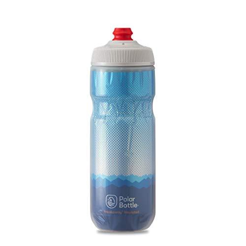 Polar Bottle Breakaway Insulated Bike Water Bottle - BPA Free, Cycling & Sports Squeeze Bottle (Ridge - Blue & Silver, 20 oz), INB20OZ03