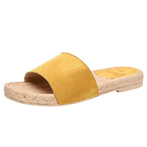 Chaussure Mode Mule Tong Claquette Ouvert Plate Femme Sandale De Plage Pantoufles Chaussons avec de la Paille Corde Talon Plat Pas Cher