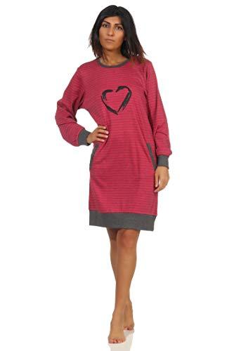 NORMANN-Wäschefabrik Damen Interlock Nachthemd Langarm mit Bündchen und Herz Motiv - auch in Übergrössen, Farbe:Beere, Größe:48/50