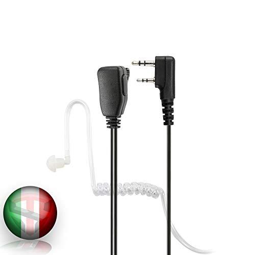 TECHSIDE 2 Pin Kenwood Transparentes Pneumatisches Headset-Mikrofon mit Funk-Transceiver-Clip Kompatibel TI-F8 + Midland G10, G11V, CT890, BaoFeng UV5RA BF-888S Militärische Sicherheitsuhr
