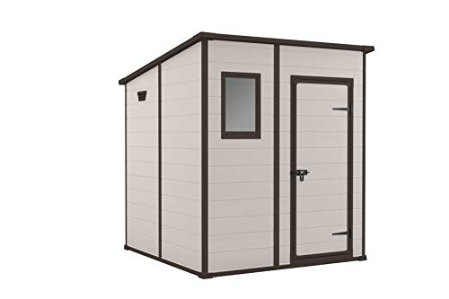 Keter Manor Pent Outdoor Plastic Garden Storage Shed, 6 x 6 feet - Large, Beige 245292