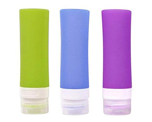 3PCS Leakproof Silicone Travel Bottles Empty Refill Soft Squeeze Containers Tubes with Flip Cap Perfect for Carry-on Luggage Liquid Toiletries and Cream (Color Random) (80ml)