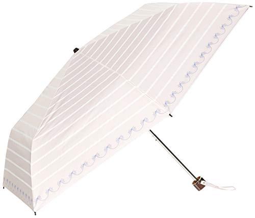 [ムーンバット]SweetLasmil(スイートジャスミル)婦人ミニ傘1級遮光99.99%晴雨兼用軽量遮蔽率99%リボンボーダーレディースペールピンク日本親骨50cm(FREEサイズ)