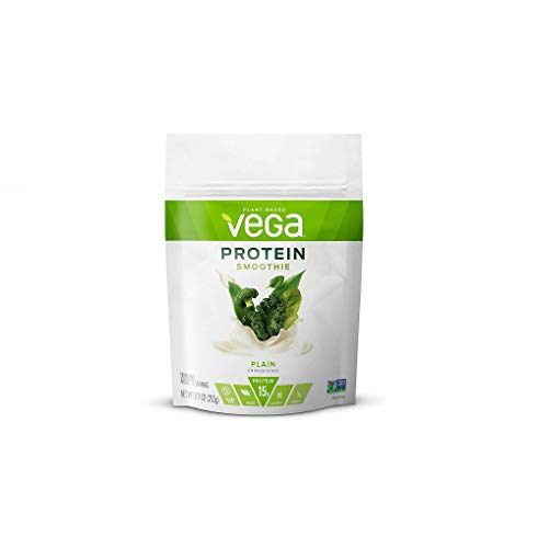 Vega Protein Smoothie, Plain Unsweetened, 12 Servings, 8.9 oz Pouch, Plant Based Vegan Protein Powder, Keto-Friendly, Gluten Free, Non Dairy, Vegan, Non Soy, Stevia Free, Non GMO