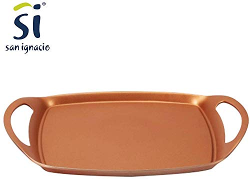 BERGNER Professional Chef Copper Plus – Padella Multifunzione Rettangolare, griglia, bistecchiera, Piastra con Rivestimento in Rame con Fondo induzione - 6118