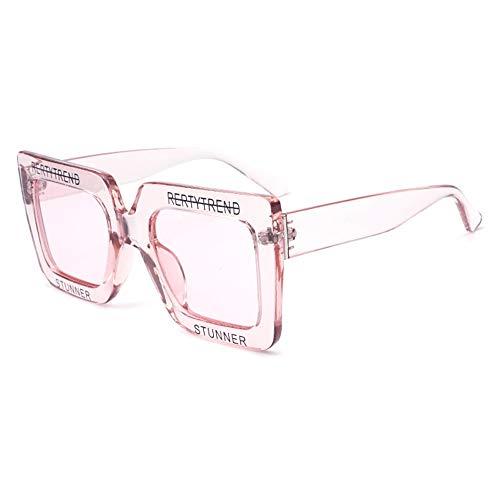 Yangmanini Gafas De Plástico Transparentes Femeninas Transparentes De Color Grande con Personalidad Personalidad Gafas De Sol Protección UV400 Moda Tendencia