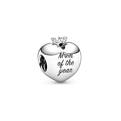 LISHOU Mujer Pandora S925 Plata Esterlina Amor Día De La Madre Oro Rosa Charm con Cuentas Accesorios De Bricolaje Accesorios De Cuentas Sueltas Fabricación De Joyas M10
