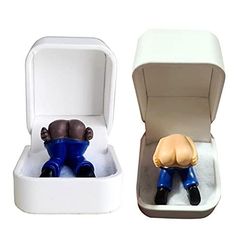 Caja de regalo creativa para pedos en caja de anillo de compromiso con pedos, 6 x 6 x 6 cm